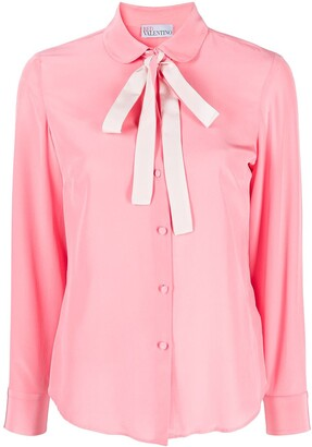 RED Valentino Pussy-Bow Collar Shirt