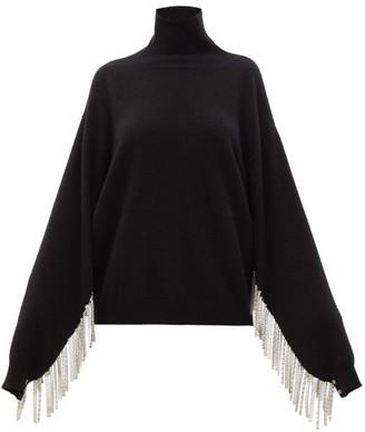 Christopher Kane Chain-fringed Roll-neck Wool-blend Sweater - Womens - Black