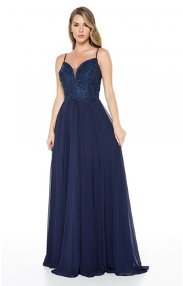 Ladyness Ladyness Navy Lace Detailed Maxi Dress