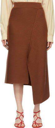 Tibi Brown Merino Rib Origami Slit Skirt
