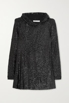 Thumbnail for your product : Naeem Khan Hooded Sequined Tulle Tunic - Black
