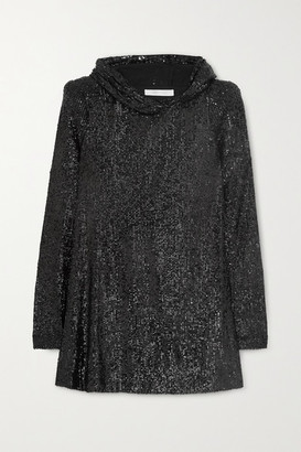 Naeem Khan Hooded Sequined Tulle Tunic - Black