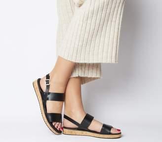 Office Sense Cork Sole Sandals Black Leather