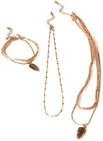 Forever 21 Feather Necklace and Bracelet Set