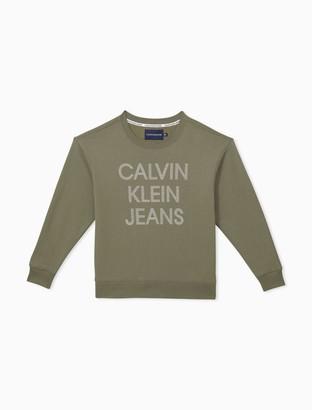 Calvin Klein Rhinestone Stacked Logo Crewneck Pullover Sweatshirt