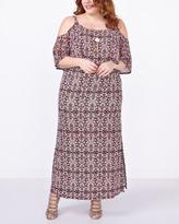 Penningtons Elbow Sleeve Cold Shoulder Printed Maxi Dress