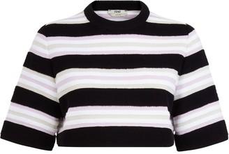 Fendi Stripe Print Cropped Sweatshirt
