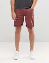 Asos Denim Shorts In Skinny Burgundy