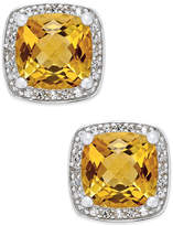 Macy's Citrine (1-3/4 ct. t.w.) and Diamond (1/8 ct. t.w.) Halo Stud Earrings in Sterling Silver