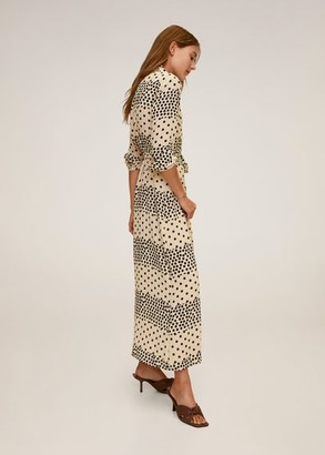 MANGO Polka dot shirt dress off white - 4 - Women