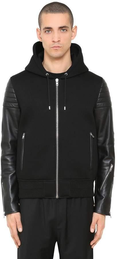 Givenchy Hooded Leather & Neoprene Jacket