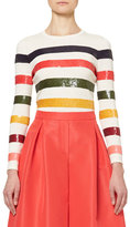 Carolina Herrera Sequin-Striped Crewneck Sweater, Multicolor