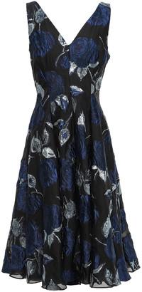 Lela Rose Fluted Metallic Brocade Dress