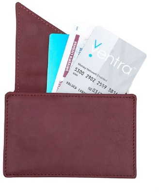Holly & Tanager Insider Leather Card Holder Wallet In Burgundy