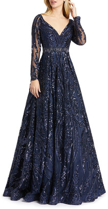 Mac Duggal Sequin Damask Pattern Long-Sleeve Ball Gown