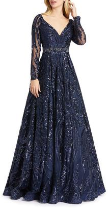 Mac Duggal Sequin Damask Pattern Long-Sleeve Ball Gown
