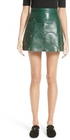 Valentino Women's Scallop Detail Leather Miniskirt