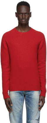 Palm Angels Red Recycled Wool Logo Sweater