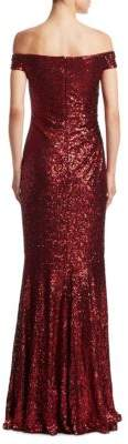 Badgley Mischka Ruched Sequined Gown
