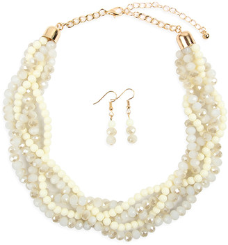 Riah Fashion Women's Earrings NATURAL - Natural Crystal & Goldtone Twist Beaded Statement Necklace Set