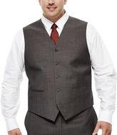 Claiborne Charcoal Herringbone Suit Vest - Big & Tall
