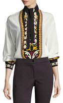 Etro Printed Silk Tie-Neck Blouse, Ivory