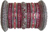 Indian Bridal Collection! Panache' Bangle Set in Silver Tone BangleEmporium Small Size 2.6