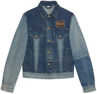 Gucci Patchwork effect denim jacket with label