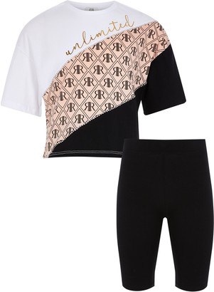 River Island Girls White printed t-shirt cycling short set