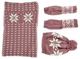 DG Fashion Womens Cozy 3 Pieces Snowflake Knit Hat Gloves and Scarf Set