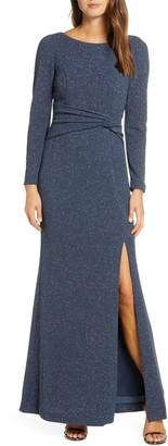 Vince Camuto Bateau Neck Long Sleeve Sparkle Gown