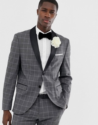 Selected slim suit jacket with satin roll lapel in gray grid check