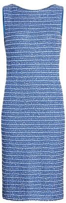 St. John Butterfly Ribbon Tweed Sheath Dress