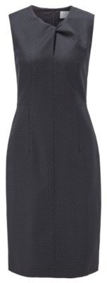 HUGO BOSS Pinstripe Shift Dress With Twisted Keyhole Slit - Patterned