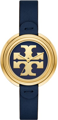 Tory Burch Miller Watch, Navy Leather/Gold, 36 Mm