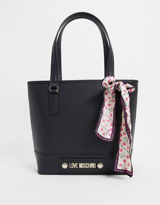 Love Moschino tote bag with scarf in black