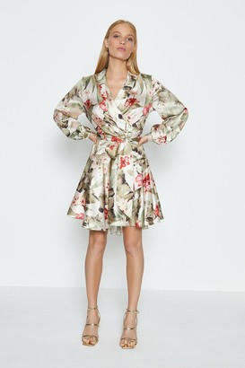 Coast Long Sleeve Floral Fit And Flare Short Dress