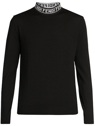 Fendi Logo Tape Collar Long-Sleeve T-Shirt