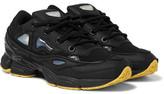 Raf Simons + Adidas Ozweego Iii Leather, Canvas And Satin Sneakers - Black