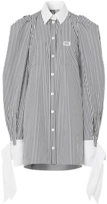Burberry Logo Applique Striped Cotton Poplin Shirt Dress