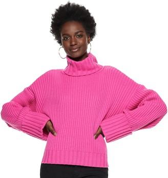 Nine West Women's Wool-Blend Cuff-Sleeve Turtleneck Sweater