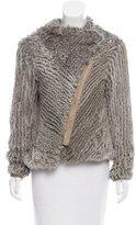 Helmut Lang Wool & Fur Zip-Up Jacket