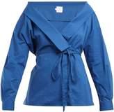 Stella Jean Tie-waist stretch-cotton wrap top