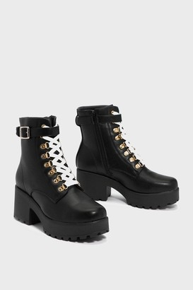 Nasty Gal Womens Give 'Em the Boot Chunky Boot - Black