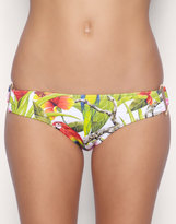 ASOS Tropical Print Hipster Bikini Briefs With Gold D Rings