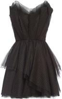 Polka Dot Bandeau Tulle Mini Cocktail Dress