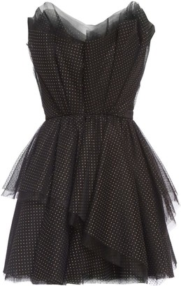 Cliché Reborn Polka Dot Bandeau Tulle Mini Cocktail Dress