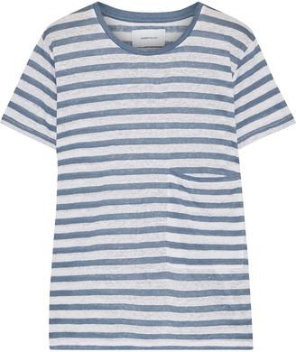 Current/Elliott The Drop Pocket Striped Linen-jersey T-shirt