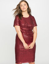 ELOQUII Plus Size Studio Sequin Draped Front Dress