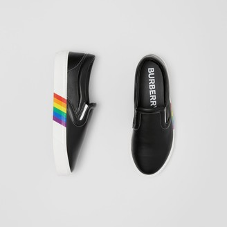 Burberry Rainbow Print Leather Slip-on Sneakers